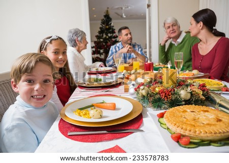 Portrait of brother and sister during christmas dinner at home in the living room - stock photo