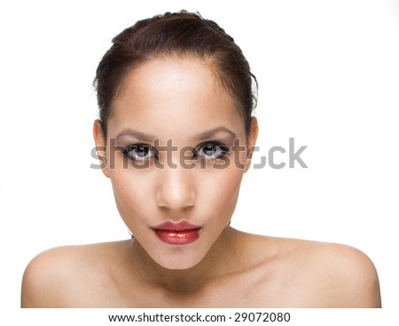 portrait of brunette woman with brown eyes - stock photo