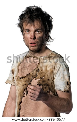 Portrait of burnt man with match over white background - stock photo