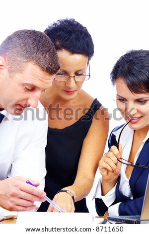 portrait of business people chatting in office environment - stock photo