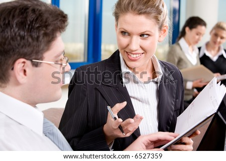 Portrait of business people chatting in the room - stock photo