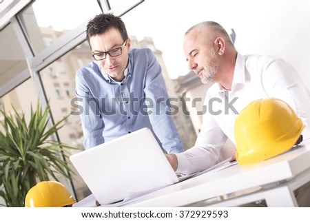 Portrait of  Business People, Engineers, Meeting, Communication, Discussion, Working Office, Interacting, Concept - stock photo