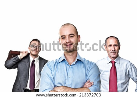 portrait of business people on white background - stock photo