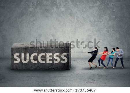 Portrait of business people pulling the big boulder on grey background - stock photo