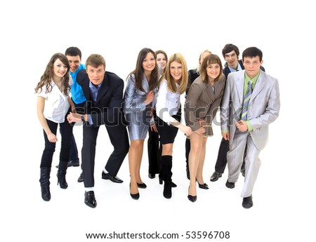 Portrait of business people ready for competition - stock photo