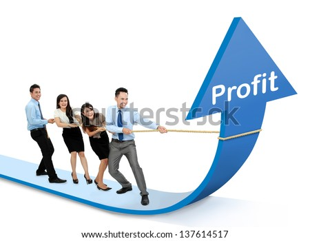 portrait of business team pulling up bar using rope. growth profit chart concept - stock photo