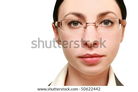 portrait of business woman in glasses. close-up - stock photo