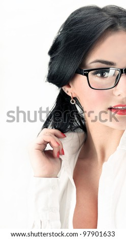 portrait of business woman in office suit - stock photo