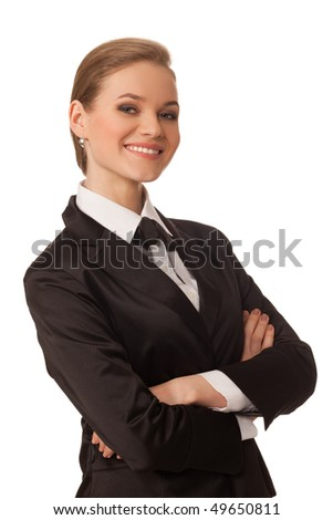 portrait of business woman isolated on white background - stock photo