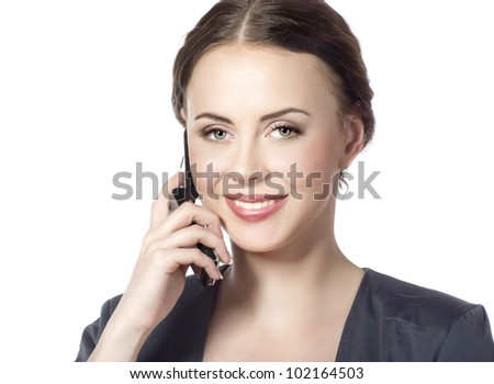 portrait of business woman talking on the phone isolated on white - stock photo