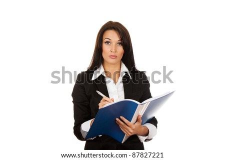 Portrait of business woman with blue folder serious looking at camera, isolated on white background - stock photo