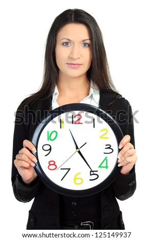 portrait of business woman with clock on white - stock photo