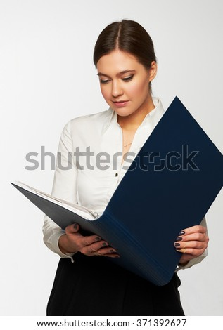 Portrait of  business woman with  folder - stock photo