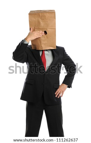 Portrait of businessman hiding behind paper bag isolated over white background - stock photo