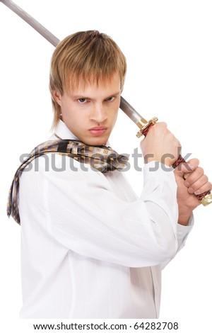 portrait of businessman in white shirt raising katana sword - stock photo