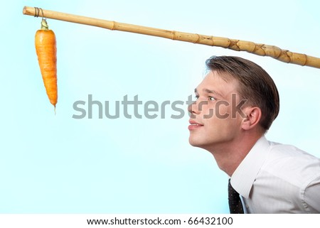 Portrait of businessman looking at fresh carrot on angle - stock photo