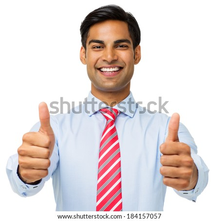 Portrait of businessman showing thumbs up isolated over white background. Horizontal shot. - stock photo