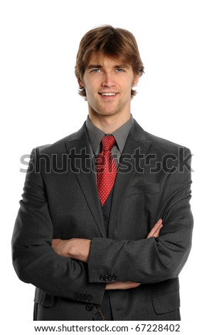 Portrait of businessman smiling isolated over white background - stock photo
