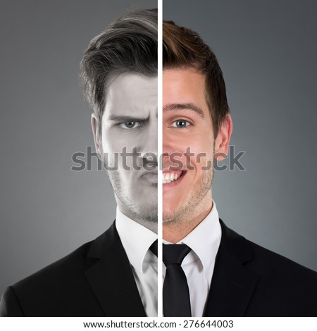 Portrait Of Businessman With Two Face Expression - stock photo