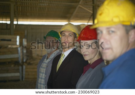 Portrait of businesspeople and manual workers posing for the camera with hard hats on - stock photo