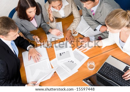 Portrait of businesspeople planning project it meeting - stock photo