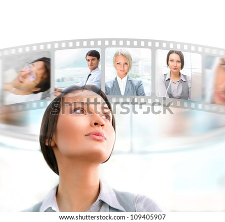 Portrait of businesswoman communicating with her team across the world. International communications concept - stock photo