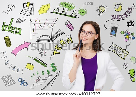 Portrait of businesswoman in eyeglasses  pensive looking  at her business plan - stock photo