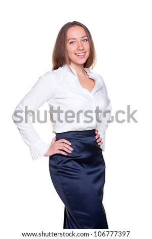 portrait of businesswoman in formal clothes. isolated on white background - stock photo