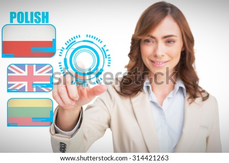 Portrait of businesswoman pointing her finger at camera against white background with vignette - stock photo