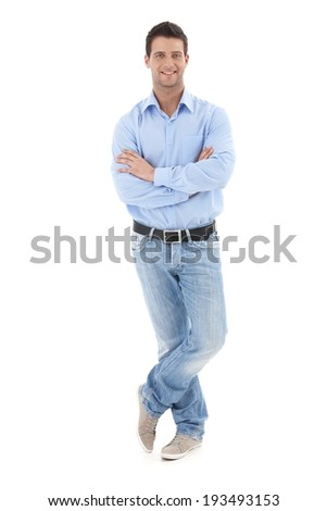 Portrait of casual businessman posing in studio with arms crossed, smiling at camera, full length, isolated on white. - stock photo