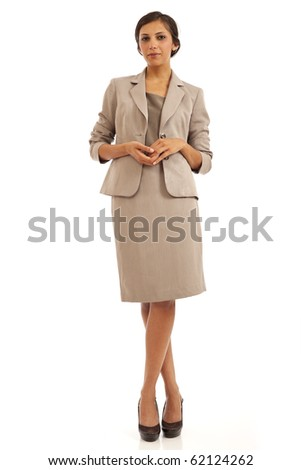 Portrait of casual young business woman in suit - stock photo