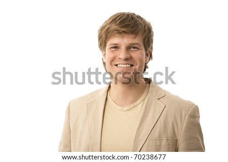 Portrait of casual young man in beige jacket smiling, isolated on white.? - stock photo