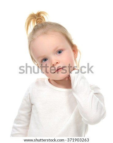 Portrait of caucasian blonde little girl with blue eyes isolated on a white background - stock photo