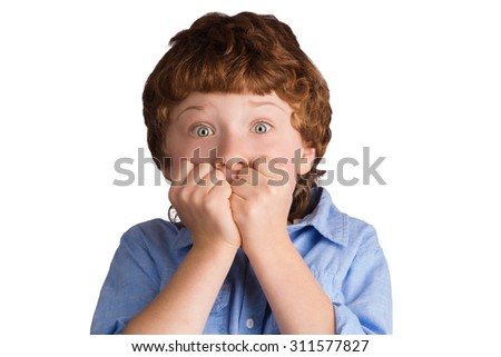 Portrait of caucasian boy with scared terrified facial expression. Isolated on white background - stock photo