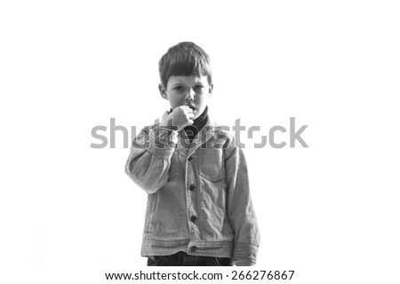 Portrait of Caucasian caprice child on white background. - stock photo