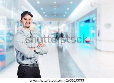 portrait of caucasian delivery man  - stock photo