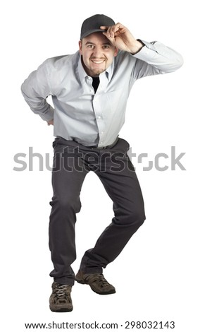 portrait of caucasian delivery man on white background - stock photo