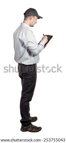 portrait of caucasian delivery man with tablet - stock photo