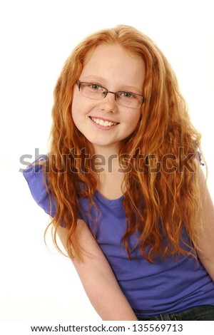 portrait of caucasian girl with glasses isolated on white - stock photo