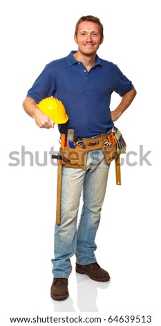 portrait of caucasian standing handyman on white background - stock photo