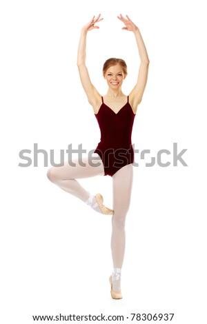 Portrait of charming ballerina performing dance on white - stock photo