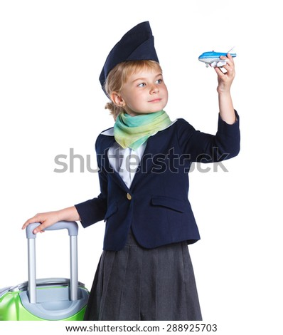 Portrait of Charming Little Stewardess Dressed In Blue Uniform with tray with cups. Isolated On White Background - stock photo