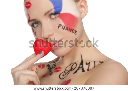 Portrait of charming woman to French theme isolated on white - stock photo