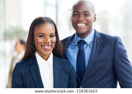 portrait of cheerful african business team - stock photo
