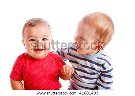 Portrait of cheerful  baby friends - stock photo