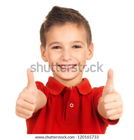 Portrait of cheerful boy showing thumbs up gesture, isolated over white background - stock photo