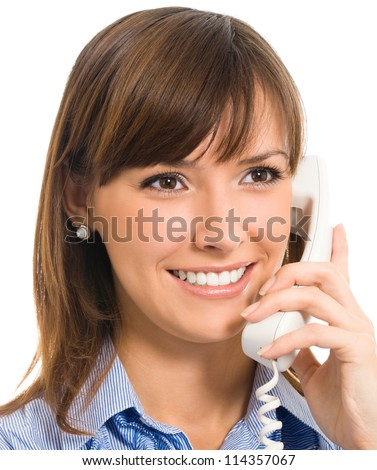 Portrait of cheerful business woman with phone, isolated over white background - stock photo