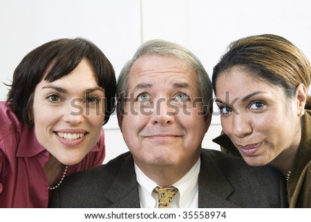 Portrait of cheerful colleagues. - stock photo
