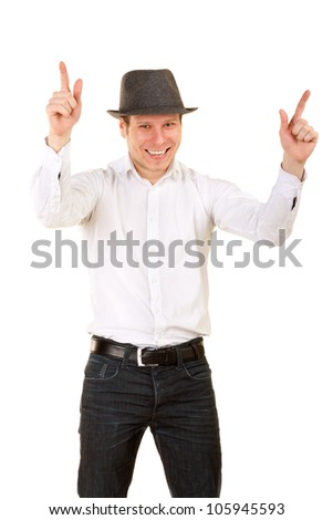 portrait of cheerful man in hat. isolated on white - stock photo