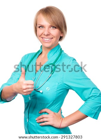 Portrait of cheerful prettily female doctor with stethoscope, isolated over white - stock photo